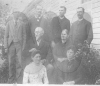 Photo of Charles G Knox Family. They appear as follows: Front Row (left to right): Eliza Knox Lewis and Elizabeth (Lizzie) Knox Lewis Middle row: Charles G and Sarah Ann Wilson Knox Top row (left to right): Leroy W Knox, John W Knox, Nelson H Knox & Thomas Ewing Knox. circa 1890