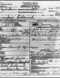 Jane Bowers Gidcumb - Death Certificate