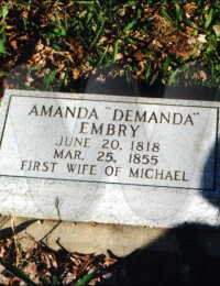 "Amanda ""Demanda"" Embry - grave marker"