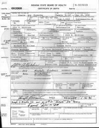 Sharon Hillman Brattain Forsythe - death certificate