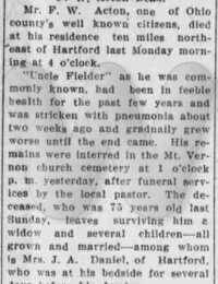 Fielder Acton - obituary