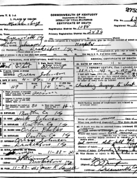John Johnson Death Certificate