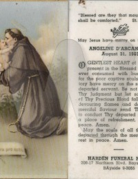 Angeline D'Arcangelo - prayer card