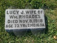 Lucy Jane Snapp Rhoads - grave marker