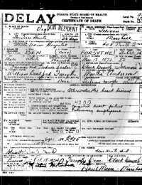 Ben Forsythe - Death Certificate