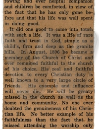 News article of the passing of Goodman Forsythe