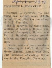 Obituary of Florence Forsythe
