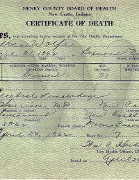 Versa Rose Maynard Wolfe - Death Certificate