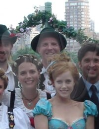 Joey Knebel with cast members Patrick Dempsey, Amy Adams on the set of Enchanted!