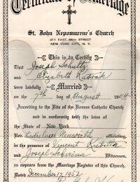 Marriage Certificate, (reissue), Jozef & Elizabeth Schultz