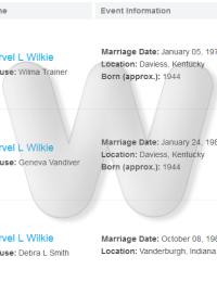 Murvel Wilkie Marriages