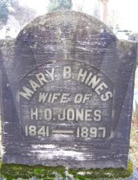 Mary B. (Hines) Jones - grave marker