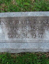 Jennie Foote Ricksher - grave marker