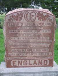 Elder Stephen & Anna (Harper) England - grave marker