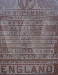Elder Stephen & Anna (Harper) England - grave marker enlarged