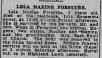 Lela Maxine Forsythe - obit