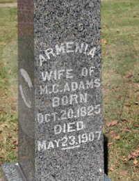Armenia Sinia Hutchison - grave marker