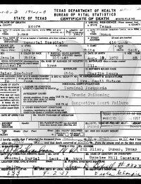 Zora Snedeker White - death certificate