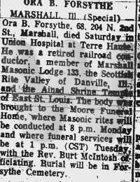 Ora B. Forsythe - obituary
