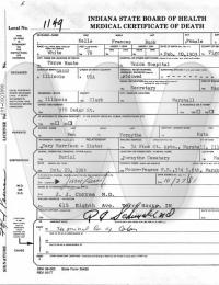 Nelle Frances Buck - death certificate