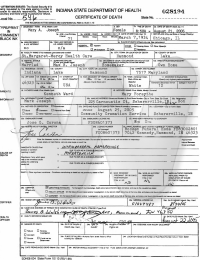 Mary Ward Joseph - death certificate