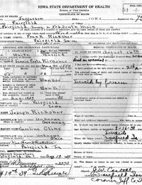 Frank Ricksher - death certificate