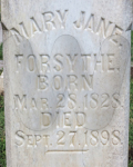Mary Jane Davis Forsythe - grave marker